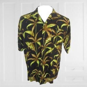 Hawaiian Palms aloha shirt L floral camp vintage